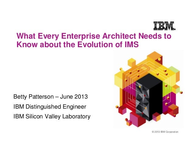 © 2013 IBM CorporationWhat Every Enterprise Architect Needs toKnow about the Evolution of IMSBetty Patterson – June 2013IB...