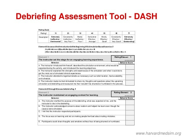 Debriefing Assessment Tool - DASH Debriefing Assessment for Simulation in Healthcare (DASH) Student Version© Directions: P...