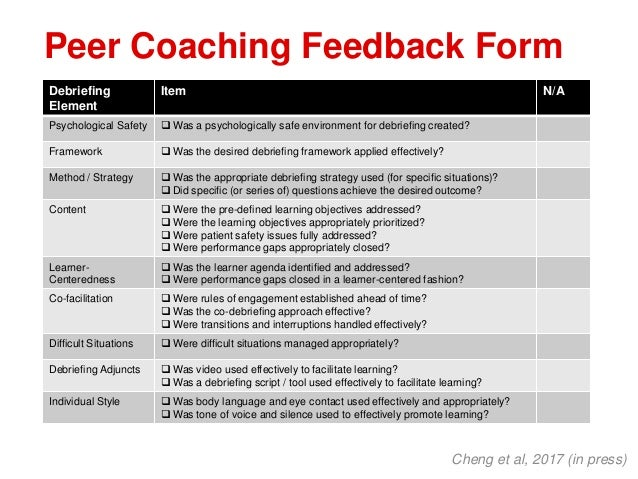 Peer Coaching Feedback Form Cheng et al, 2017 (in press) Debriefing Element Item N/A Psychological Safety  Was a psycholo...