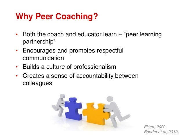 """Why Peer Coaching? • Both the coach and educator learn – """"peer learning partnership"""" • Encourages and promotes respectful ..."""