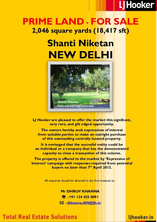PRIME LAND - FOR SALE  2,046 square yards (18,417 sft)             Shanti Niketan              NEW DELHI                  ...