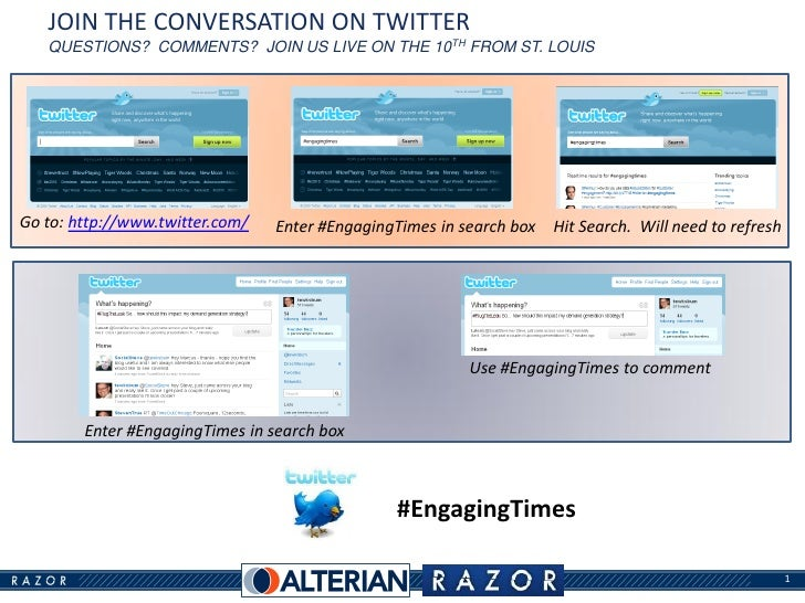 JOIN THE CONVERSATION ON TWITTER    QUESTIONS? COMMENTS? JOIN US LIVE ON THE 10TH FROM ST. LOUIS     Go to: http://www.twi...