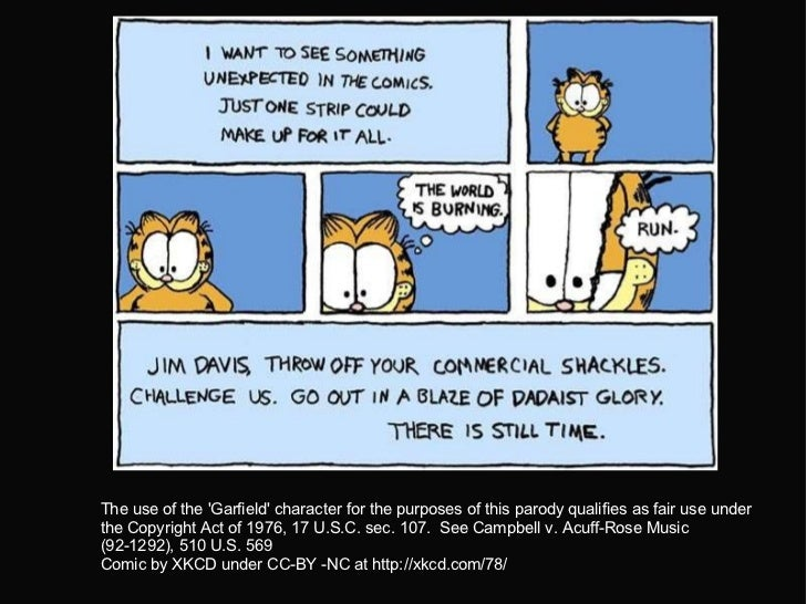 The use of the 'Garfield' character for the purposes of this parody qualifies as fair use under the Copyright Act of 197...
