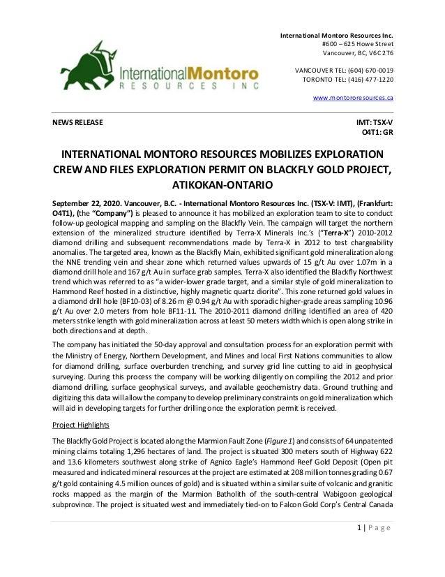 1 | P a g e NEWS RELEASE IMT: TSX-V O4T1: GR INTERNATIONAL MONTORO RESOURCES MOBILIZES EXPLORATION CREW AND FILES EXPLORAT...