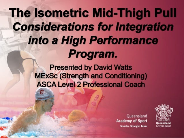 Overview • Personal experience • Justification for use • Isometric tests and athletic performance • Protocol • Peak Force ...