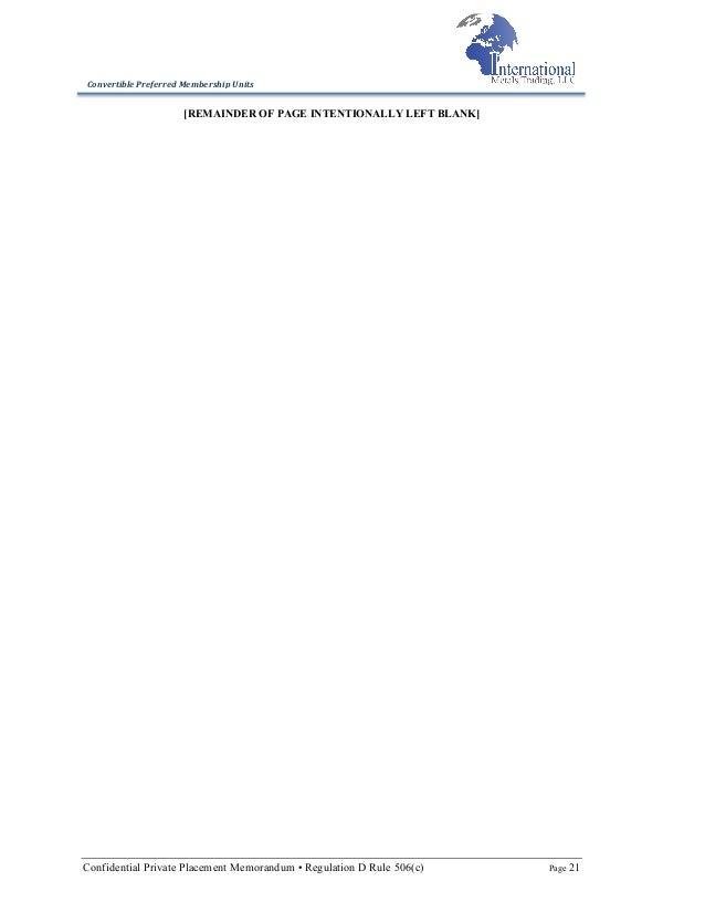 International Metals Trading LLC 506c Fering Memorandum
