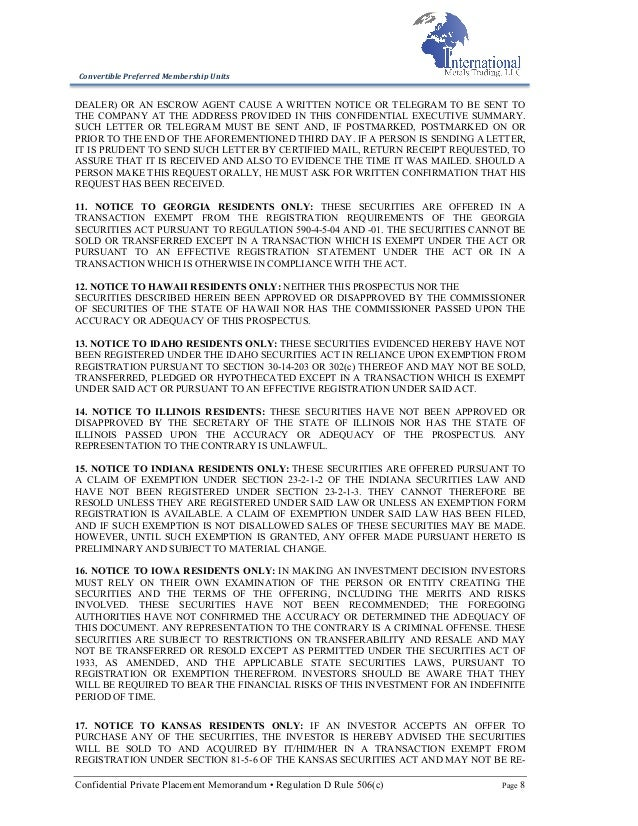 International Metals Trading, LLC 506c Offering Memorandum