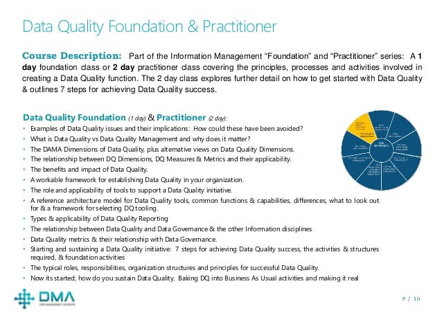 "P / 1 0 Data Quality Foundation & Practitioner Course Description: Part of the Information Management ""Foundation"" and ""Pr..."