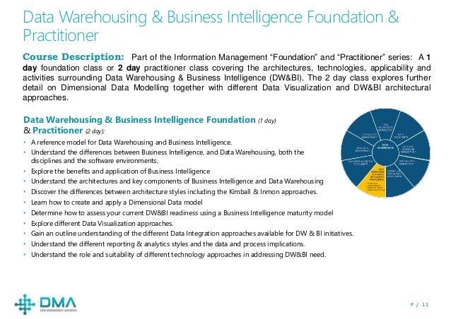 P / 1 1 Data Warehousing & Business Intelligence Foundation & Practitioner Course Description: Part of the Information Man...