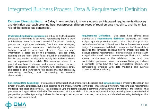 P / 1 5 Integrated Business Process, Data & Requirements Definition Course Description: A 5 day intensive class to show st...