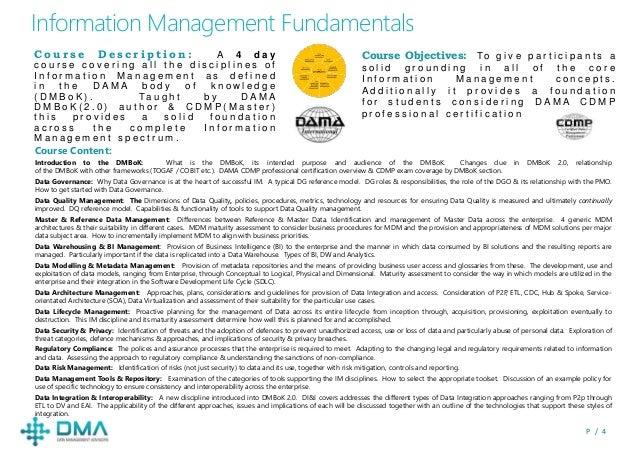 P / 4 Information Management Fundamentals Course Objectives: To g i v e p a r t i c i p a n t s a s o l i d g r o u n d i ...