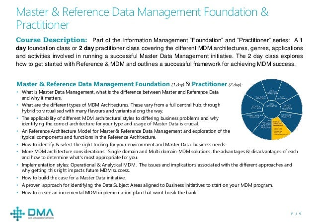 P / 9 Master & Reference Data Management Foundation & Practitioner Course Description: Part of the Information Management ...