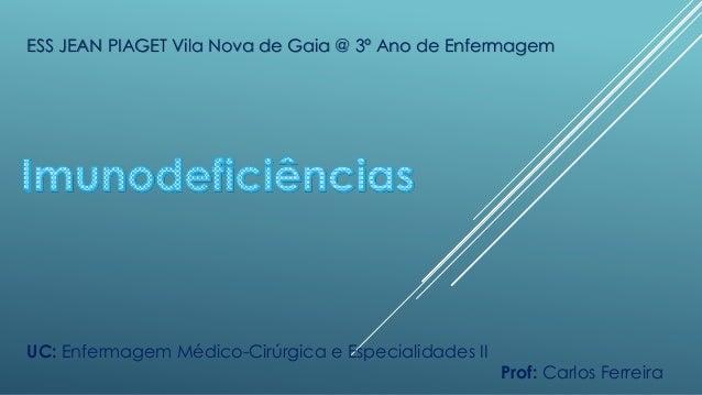 ESS JEAN PIAGET Vila Nova de Gaia @ 3º Ano de Enfermagem  UC: Enfermagem Médico-Cirúrgica e Especialidades II  Prof: Carlo...