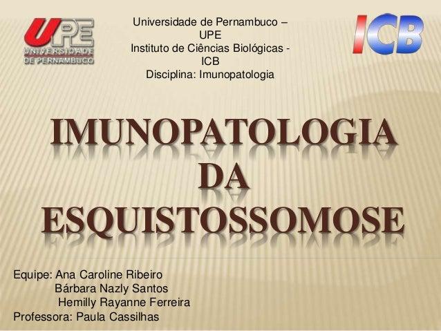 IMUNOPATOLOGIA DA ESQUISTOSSOMOSE Equipe: Ana Caroline Ribeiro Bárbara Nazly Santos Hemilly Rayanne Ferreira Professora: P...