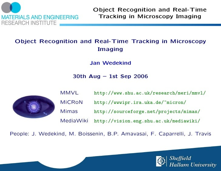 Object Recognition and Real-Time                                Tracking in Microscopy Imaging     Object Recognition and ...