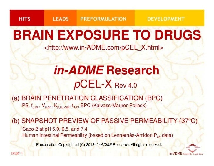 BRAIN EXPOSURE TO DRUGS                <http://www.in-ADME.com/pCEL_X.html>                     in-ADME Research          ...