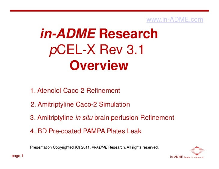 www.in-ADME.com              in-ADME Research                pCEL-X Rev 3.1                  Overview         1. Atenolol ...