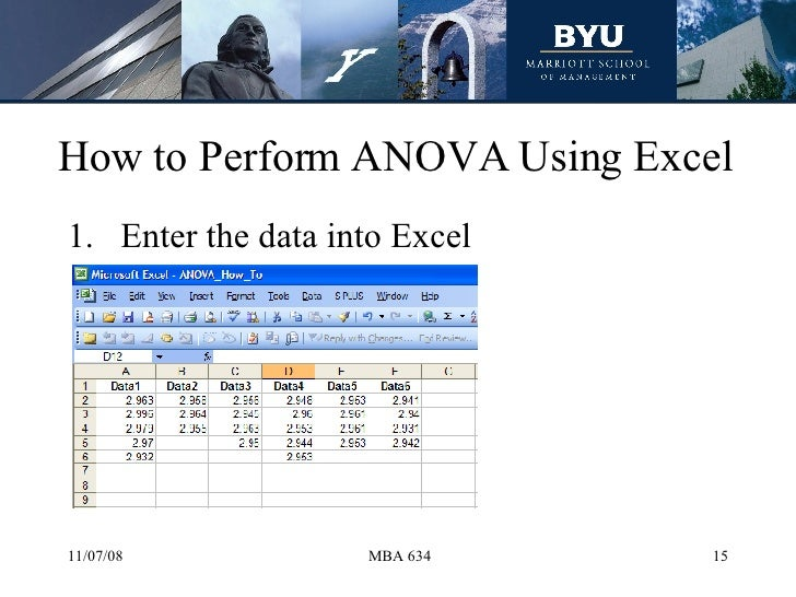 15 anova Analysis of variance (anova) is a collection of statistical models and their associated estimation procedures (such as the variation among and between groups) .