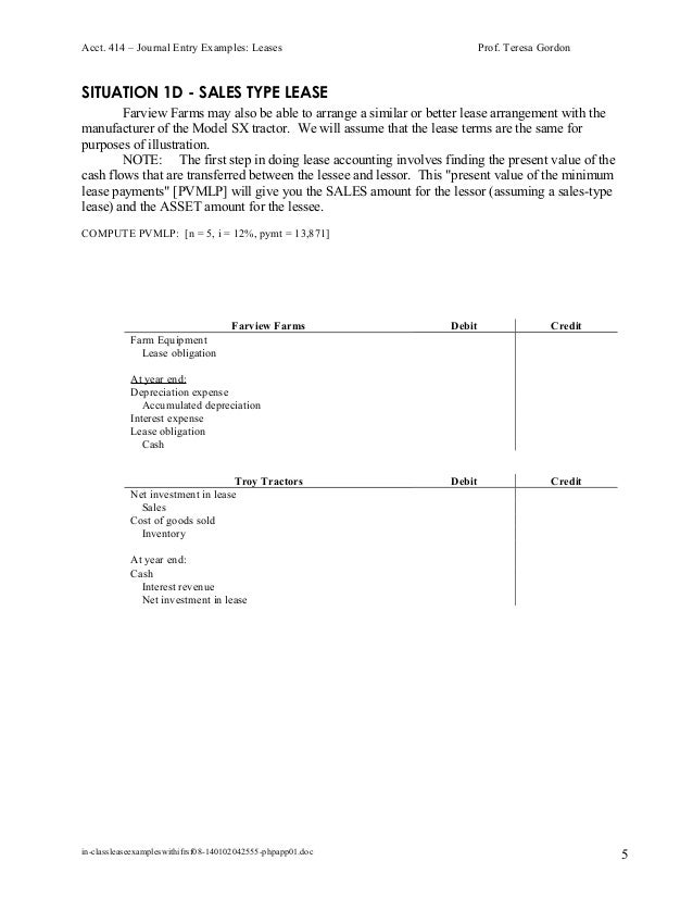 In Class Lease Examples With Ifrs F