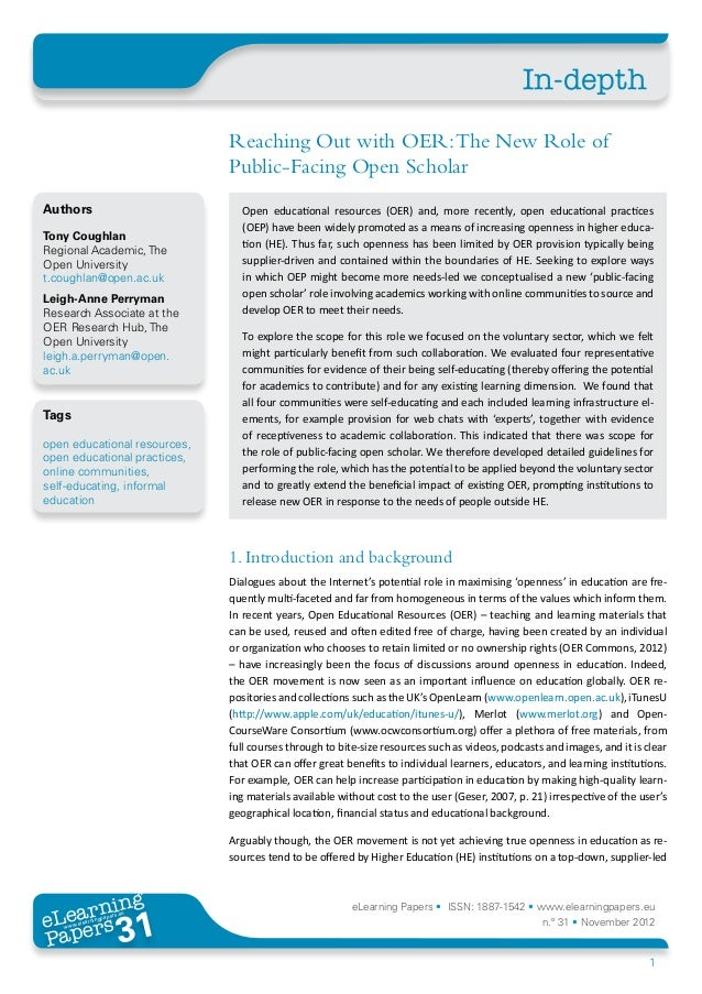 In-depth                              Reaching Out with OER: The New Role of                              Public-Facing Op...