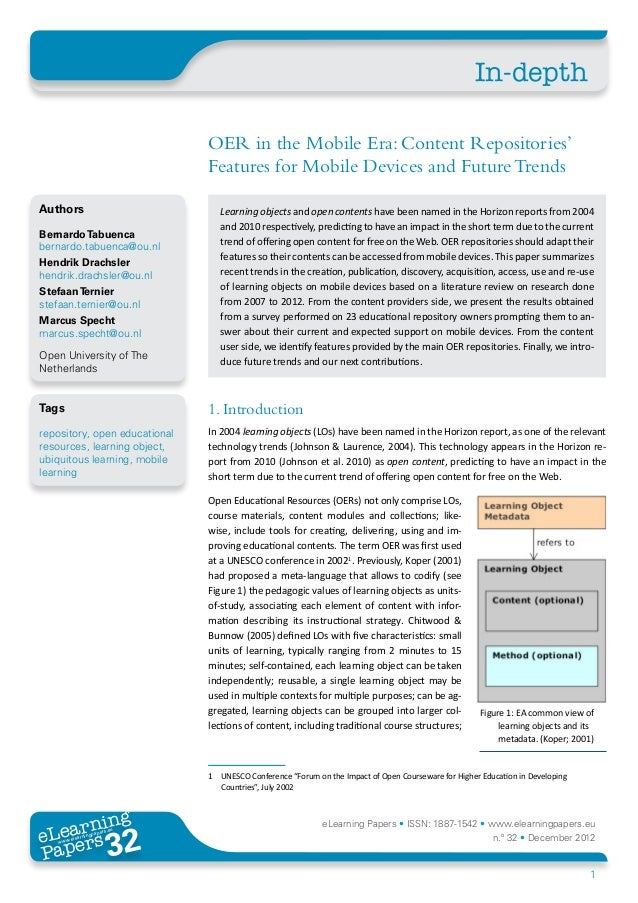 In-depth                               OER in the Mobile Era: Content Repositories'                               Features...