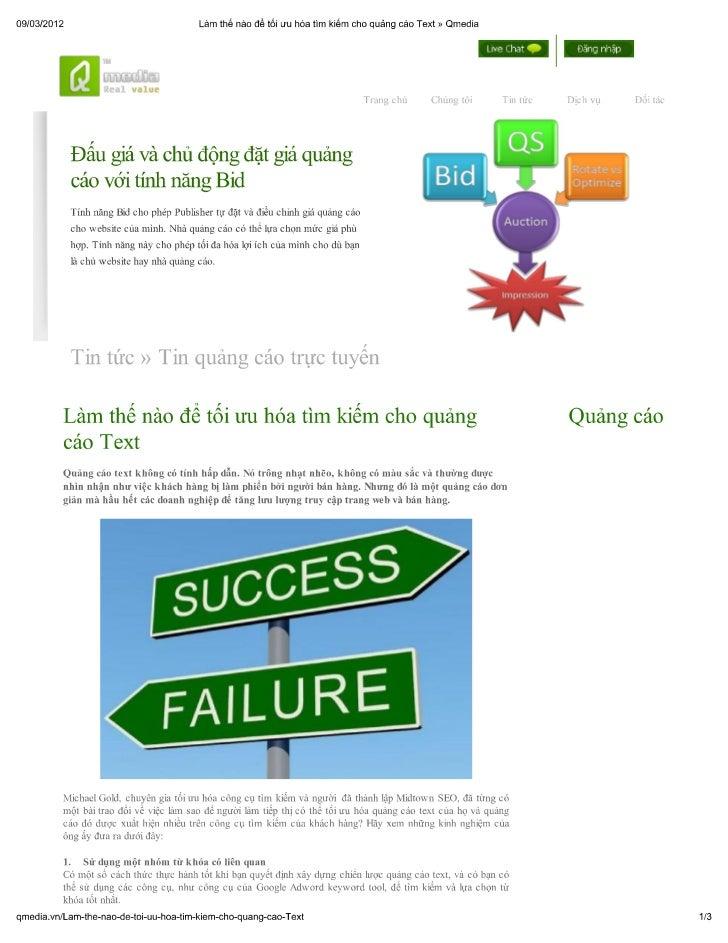 Làm thế nào để tối ưu hóa tìm kiếm cho quảng cáo text » qmedia