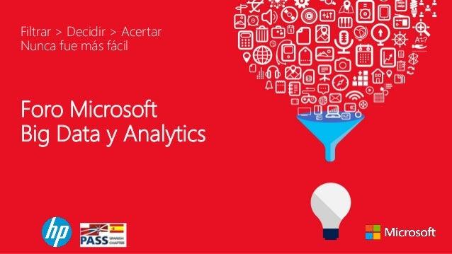 Foro Microsoft Big Data y Analytics Filtrar > Decidir > Acertar Nunca fue más fácil