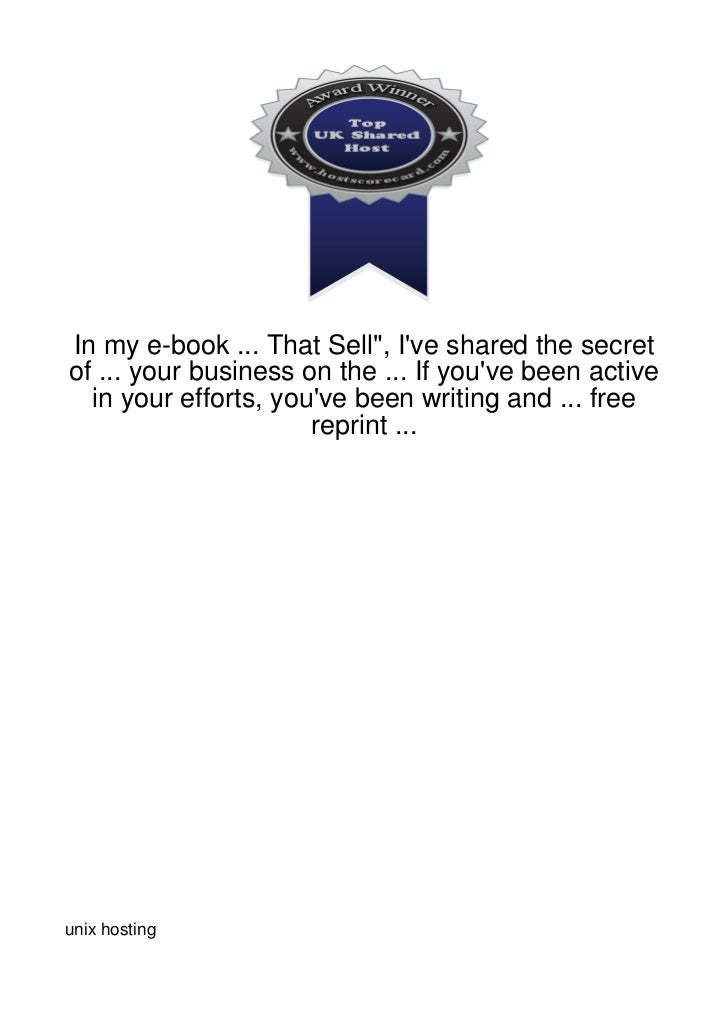 """In my e-book ... That Sell"""", Ive shared the secretof ... your business on the ... If youve been active  in your efforts, y..."""