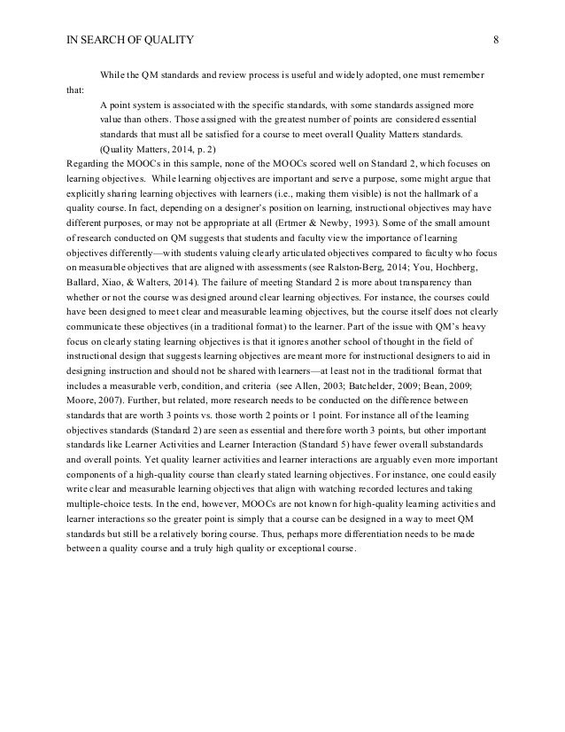 What Is A Thesis In An Essay   Essay On My Mother In English also First Day Of High School Essay In Search Of Quality Using Quality Matters To Analyze The Quality Of Essay About Good Health