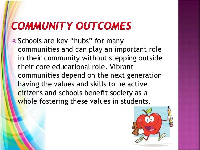 """ Schools are key """"hubs"""" for many communities and can play an important role in their community without stepping outside t..."""