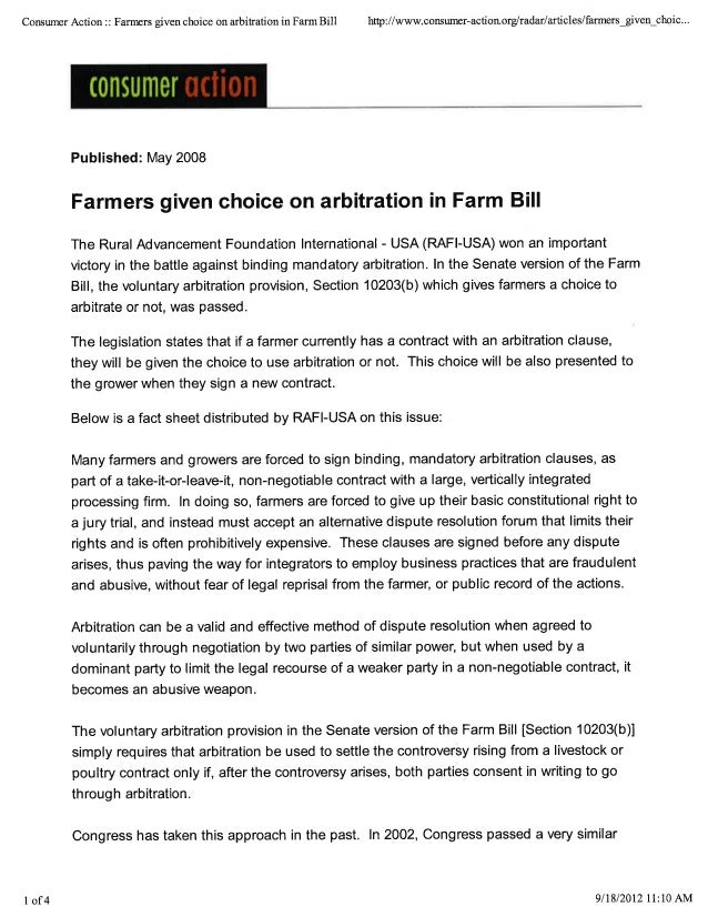 Farmers given choice on arbitration in Farm Bill
