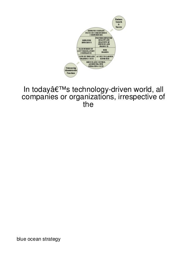 In today's technology-driven world, all  companies or organizations, irrespective of                   theblue ocean str...