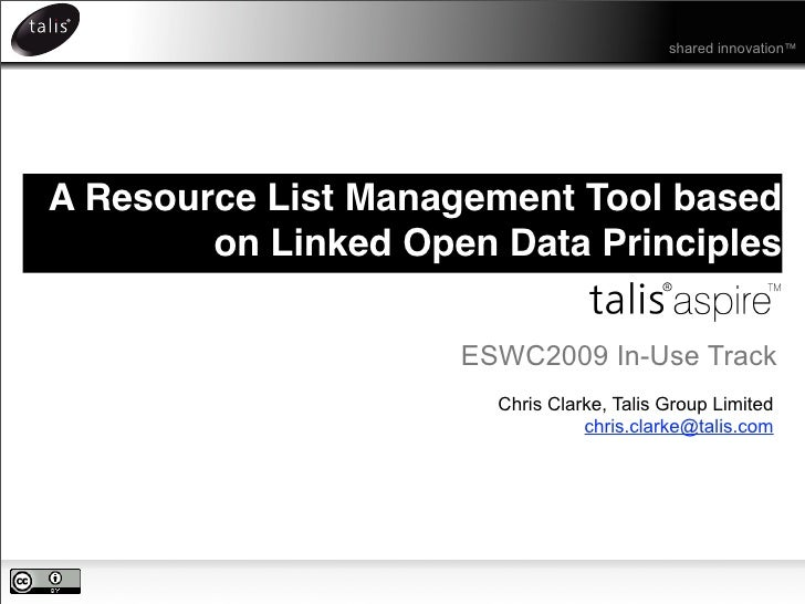shared innovation™     A Resource List Management Tool based         on Linked Open Data Principles                       ...