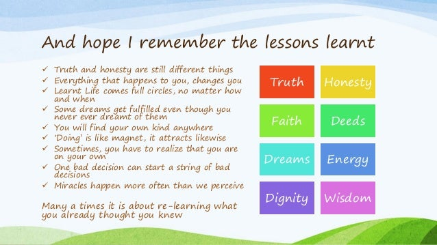 And hope I remember the lessons learnt  Truth and honesty are still different things  Everything that happens to you, ch...