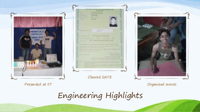 Presented at IIT Cleared GATE Organized events Engineering Highlights