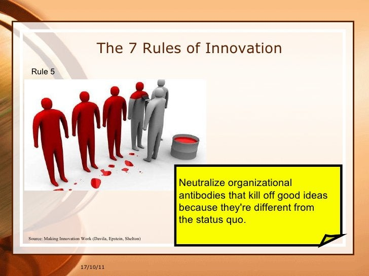 17/10/11 Neutralize organizational  antibodies that kill off good ideas  because they're different from  the status quo. T...