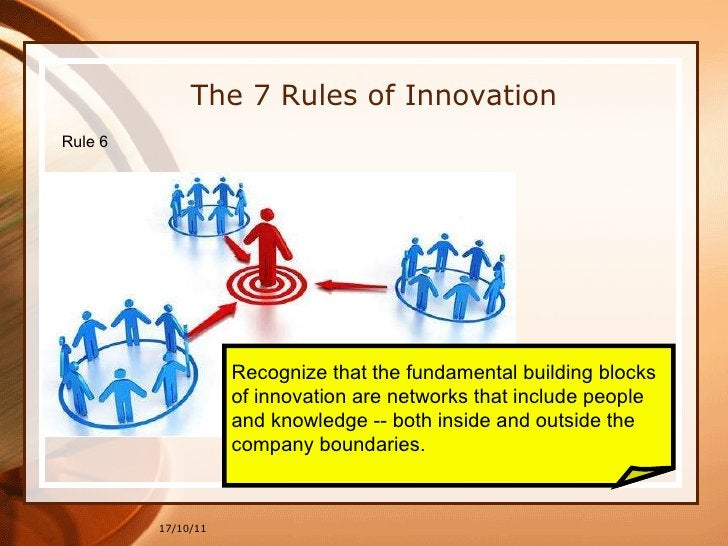 17/10/11 Recognize that the fundamental building blocks  of innovation are networks that include people  and knowledge -- ...