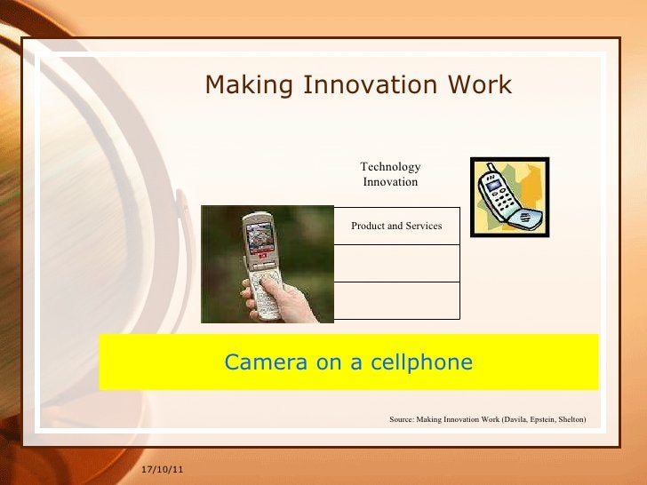 17/10/11 Making Innovation Work Camera on a cellphone Technology Innovation Source: Making Innovation Work (Davila, Epstei...