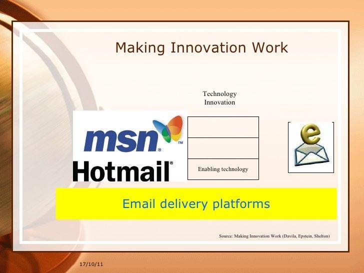17/10/11 Making Innovation Work Email delivery platforms Technology Innovation Source: Making Innovation Work (Davila, Eps...
