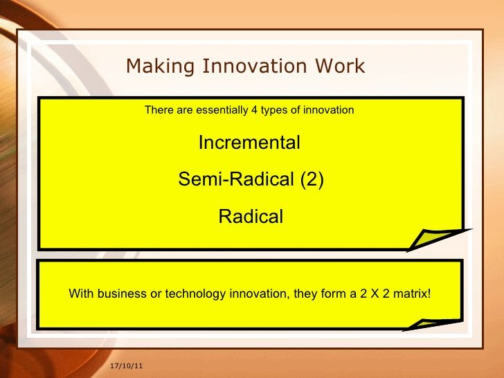 17/10/11 Making Innovation Work There are essentially 4 types of innovation  Incremental   Semi-Radical (2) Radical With b...