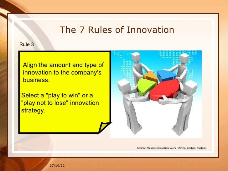 17/10/11 The 7 Rules of Innovation Rule 3  Align the amount and type of  innovation to the company's  business. Select a &...