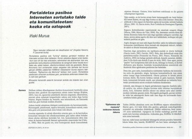 """24  Sarrera  Partaidetza pasiboa lnterneten sortutako talde  eta komunitateetan:  kezka eta oztopoak  / ñaki Murua  """"Egun ..."""