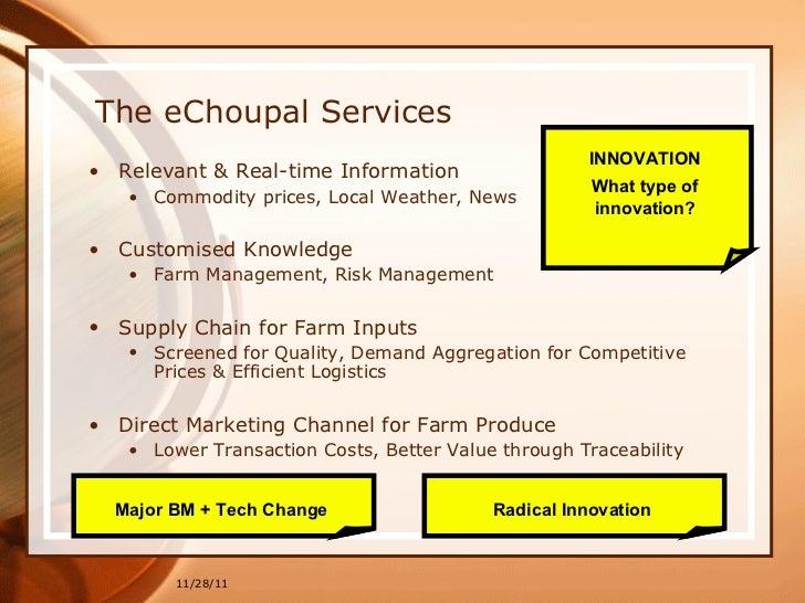 echoupal case study The itc e-choupal initiative case analysis by group 7 jigeesha nayyar | 029  kc siddharth | 03 kunjal kaw | 034 mohit sadhwani | 040 naman misra |042.