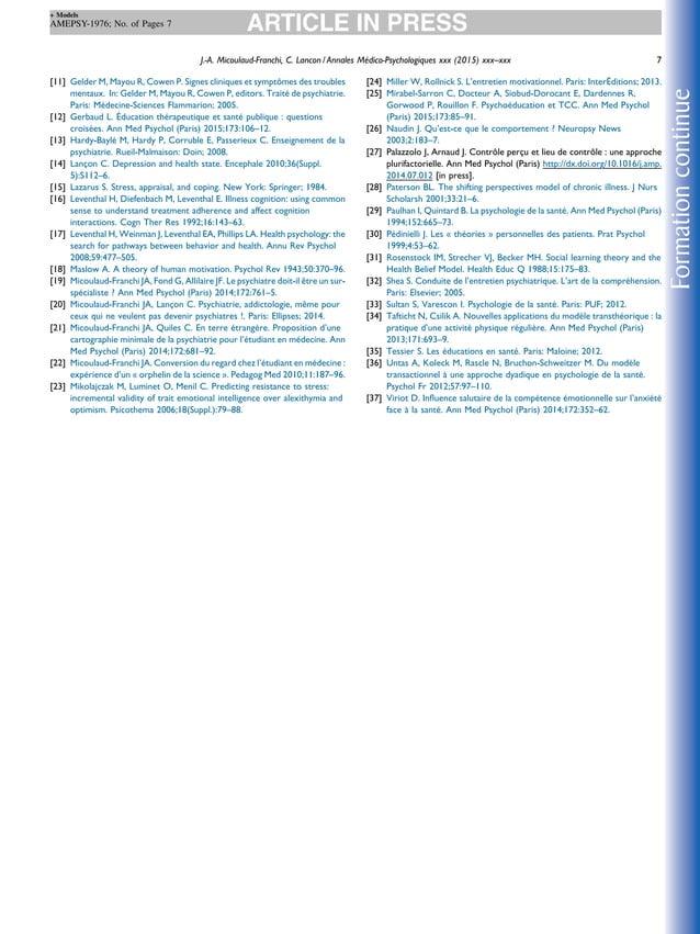 [11] Gelder M, Mayou R, Cowen P. Signes cliniques et symptômes des troubles mentaux. In: Gelder M, Mayou R, Cowen P, edito...