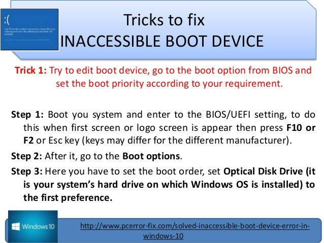 Inaccessible boot device error in windows 10