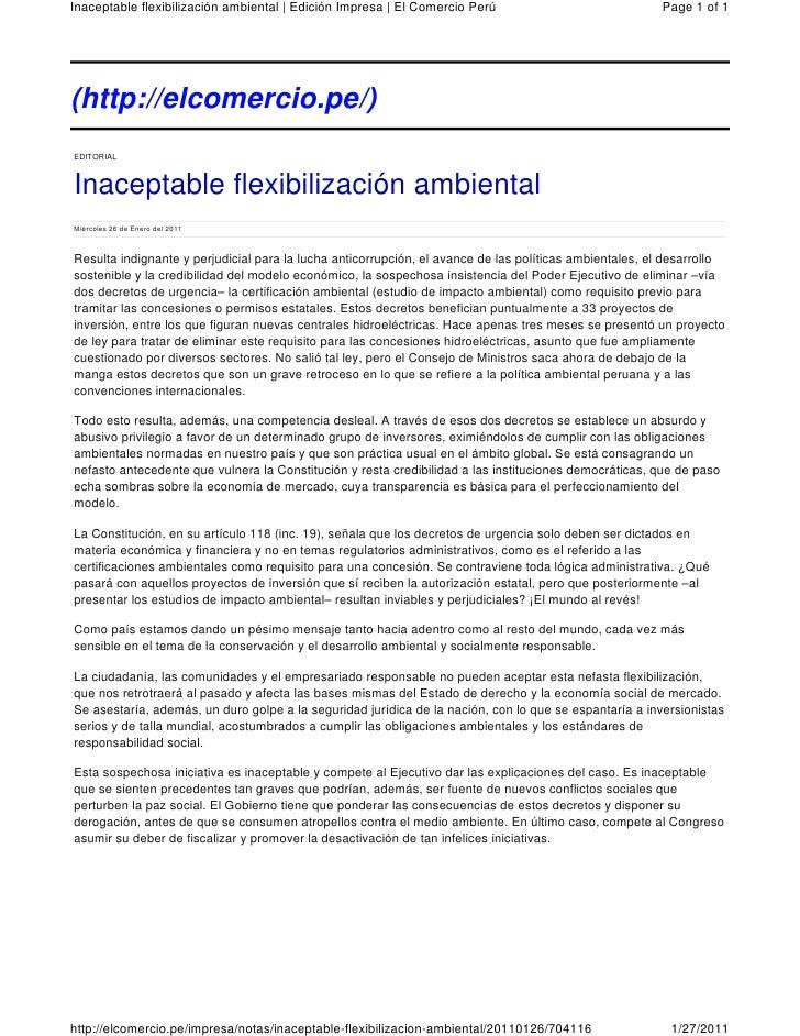 Inaceptable flexibilización ambiental   Edición Impresa   El Comercio Perú                              Page 1 of 1(http:/...
