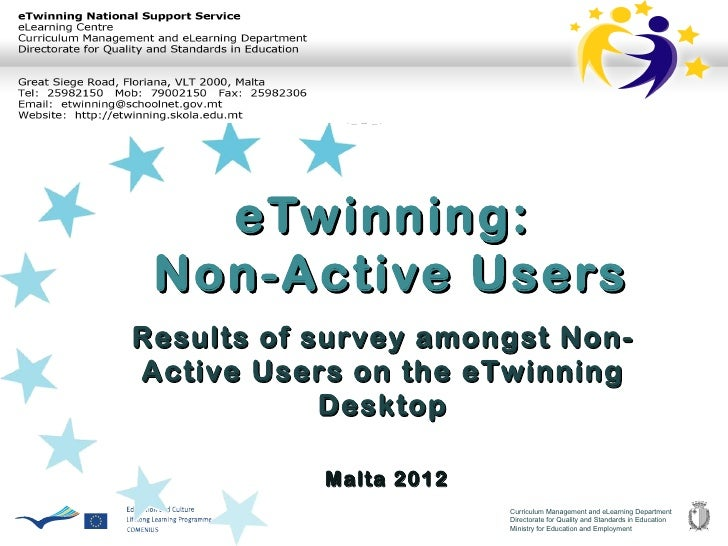 eTwinning: Non-Active UsersResults of survey amongst Non-Active Users on the eTwinning            Desktop           Malta ...