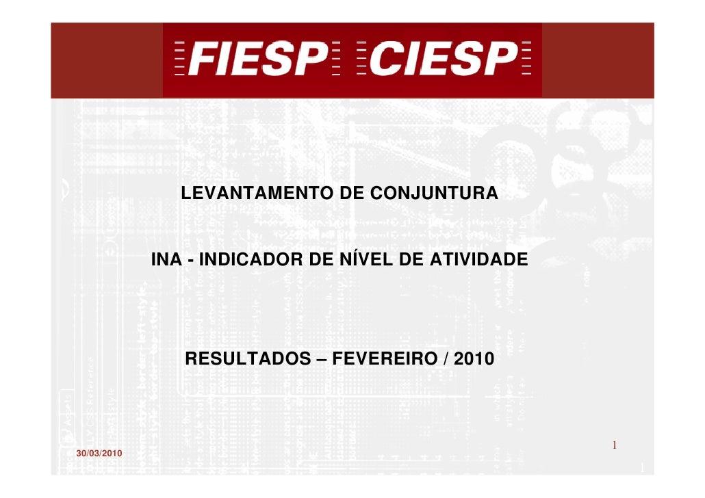 LEVANTAMENTO DE CONJUNTURA                INA - INDICADOR DE NÍVEL DE ATIVIDADE                     RESULTADOS – FEVEREIRO...