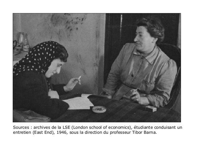 Sources : archives de la LSE (London school of economics), étudiante conduisant un entretien (East End), 1946, sous la dir...