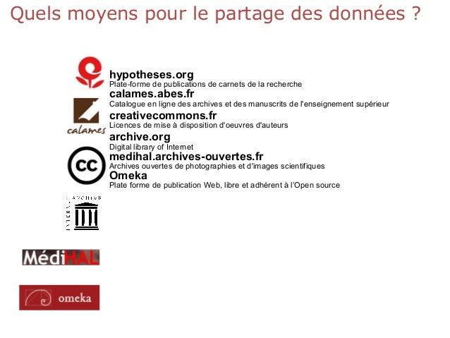 Quels moyens pour le partage des données ? hypotheses.org Plate-forme de publications de carnets de la recherche calames.a...